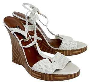 Bruno Magli White Woven Leather Sandal Wedges