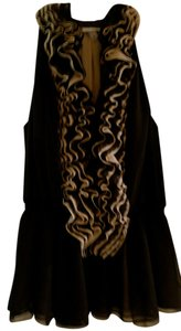 Robert Rodriguez Lace Blouse Light Tan Silk Top Black