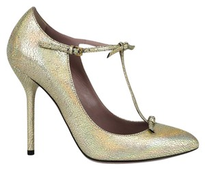 Gucci Crackled Metallic Leather Platinum/8053 Pumps