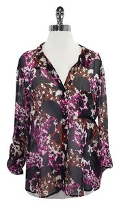 Diane von Furstenberg Black Pink Button Up Top
