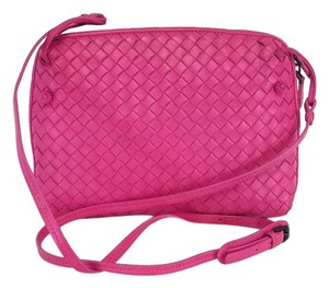 Bottega Veneta Hot Pink Woven Leather Cross Body Bag