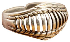 Modern Vintage Toe Ring~Sterling Silver - Die-Cut Stripes Top 1.6g - Toe Ring~ Size (1.25) Adjustable Toe Ring.