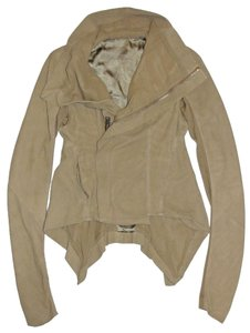 Rick Owens Leather Peplum Biker Moto Beige Leather Jacket
