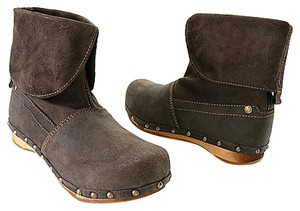 Sanita Wooden Clogs Suede Swedish Black Boots