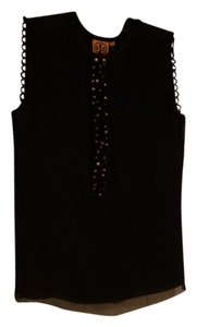 Tory Burch Tulle Pearl Accents Top Black