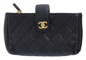 Chanel Black Leather Quilted Wallet