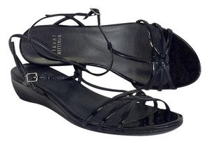 Stuart Weitzman Black Patent Leather Wedge Sandals