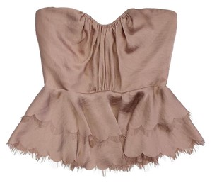 Rebecca Taylor Blush Strapless Scallop Hem Top