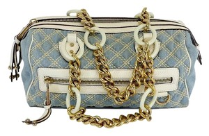 Marc Jacobs Light Blue Cream Quilted Shoulder Bag