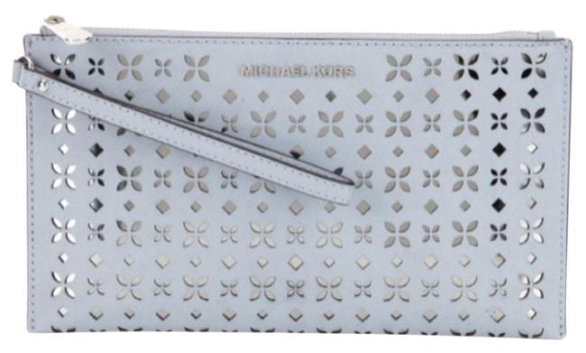 Item - Jet Set Floral-perforated Large Dusty Blue Silver Leather Clutch