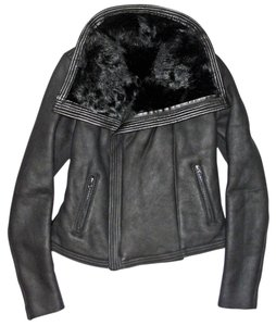 Vince Shearling Fur Leather Leather Jacket