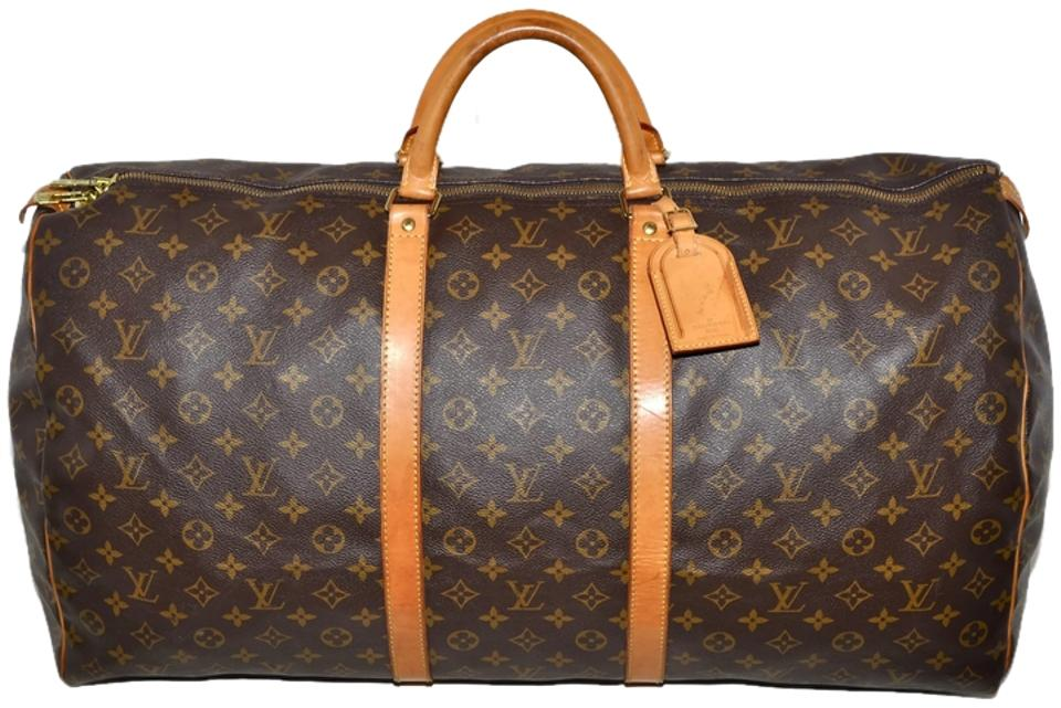 Louis Vuitton Duffle Keepall 60 Monogram Extra Large 24 Inch Luggage Brown  Leather   Coated Canvas Weekend Travel Bag 38aaa5b30afc8