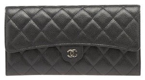 Chanel Chanel A68705 Black Quilted Leather Passport Wallet (92723)