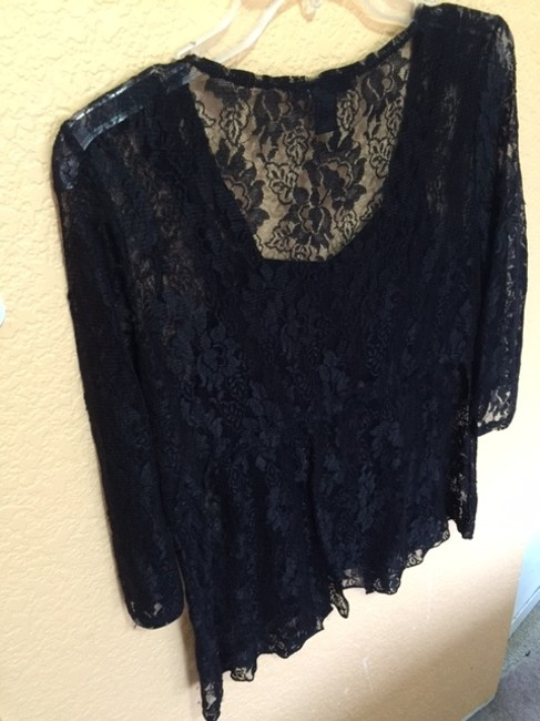 Style & Co Mid Sleeve Top BLACK LACE Image 1