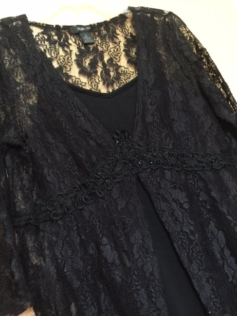 Style & Co Mid Sleeve Top BLACK LACE Image 2