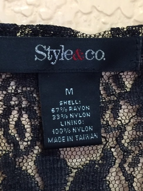 Style & Co Mid Sleeve Top BLACK LACE