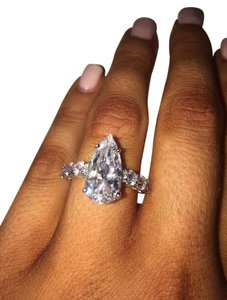 CRISLU CRISLU Pear Crystal Engagement Ring
