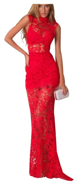 Item - Red Lace Maxi Long Night Out Dress Size 2 (XS)