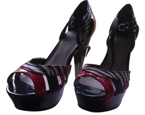 Guess G By Stilettos Pumps Black and Red Platforms