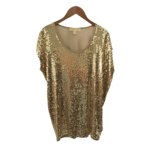 MICHAEL Michael Kors Micahel Sequin Holiday Top GOLD