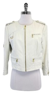 Alice + Olivia White Leather Jacket