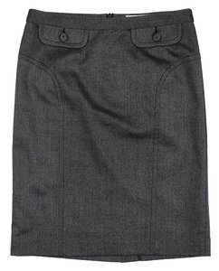 Trina Turk Grey Wool Silk Pencil Skirt