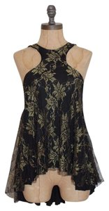 Free People Cut Out Embroidered Top BLACK GOLD