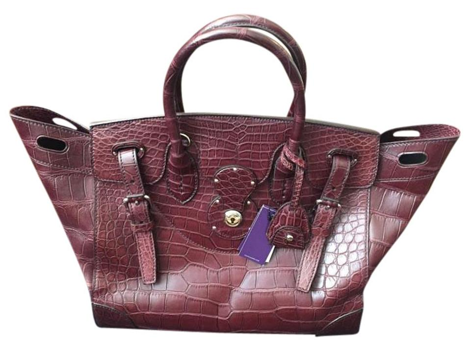 a51f847bf106 Ralph Lauren Collection Ricky Wine Alligator Shoulder Bag - Tradesy