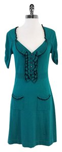 Nanette Lepore short dress Teal Black Ruffled Neckline on Tradesy