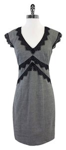 Rebecca Taylor short dress Grey & Black Wool Lace Cap Sleeve on Tradesy
