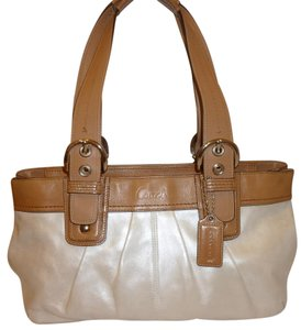 Coach Refurbished Tote in Pearl White and Tan