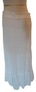 INC International Concepts Embroidery Maxi Maxi Skirt White