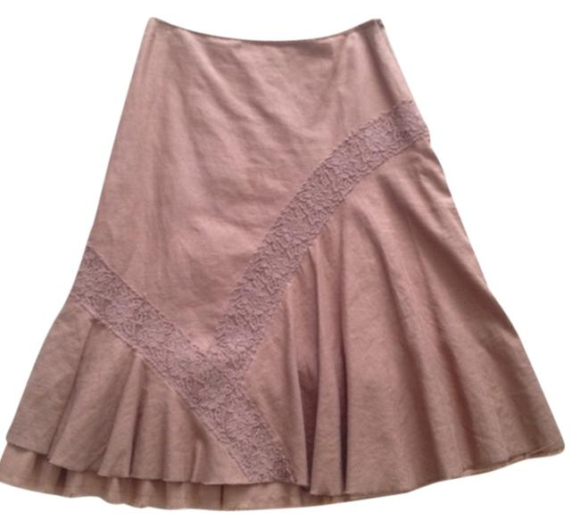 Anthropologie Linen Lace Romantic Vintage Rare Skirt Brown