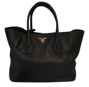 Prada Vitello Daino Tote in Black
