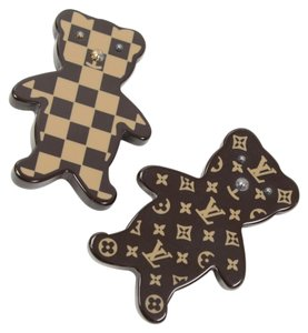 Louis Vuitton Louis Vuitton Monogram Damier Teddy Bear 2-Piece Brooches in Box