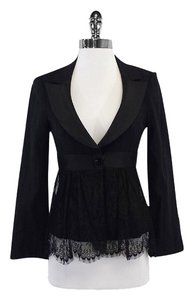 Nanette Lepore Black Striped Lace Detail Blazer