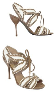 Emporio Armani Leather Heels Tan & White Sandals