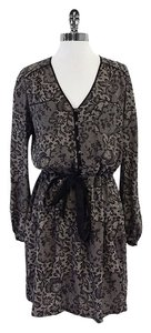 Rebecca Taylor short dress Taupe Black Lace Print on Tradesy
