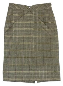 MILLY Grey Green Plaid Wool Skirt