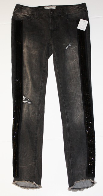 Free People Size 27 Solstice Sequin Skinny Denim Black/noir Skinny Jeans-Dark Rinse