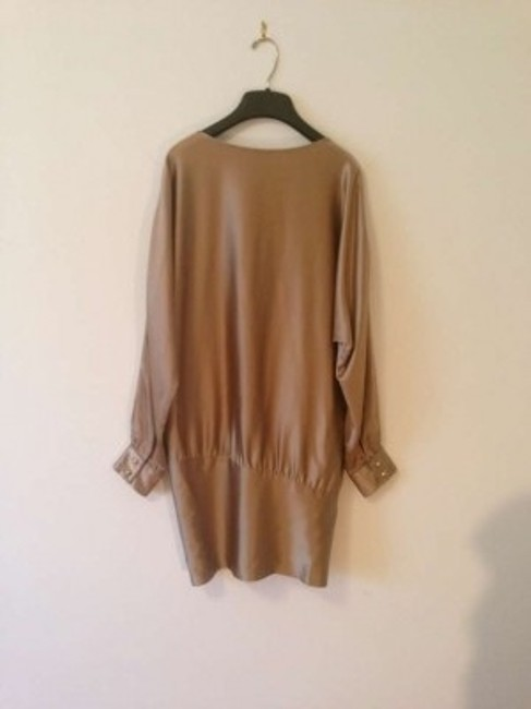 Haute Hippie Silk Gold Asymmetric Mini Longsleeve Above Knee Dress