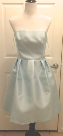 BHLDN Ice Blue Silk Gazar Courtney Coren Moore Formal Bridesmaid/Mob Dress Size 8 (M) Image 3