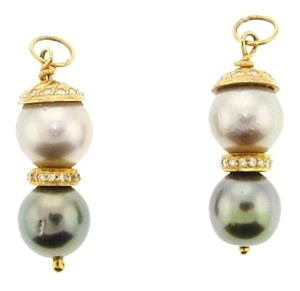 Other STEAL - 18k diamond South Sea 10 3/4 mm pearl ear pendants