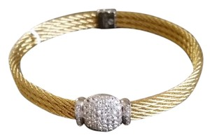 Charriol ALOR/Charriol 18k/Stainless Steel Yellow Cable & Pave Diamond Bracelet