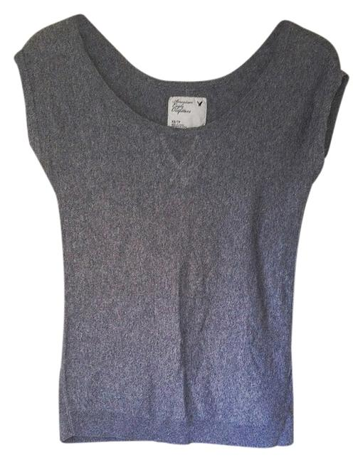 Preload https://item4.tradesy.com/images/american-eagle-outfitters-gray-short-sleeve-scoop-neck-sweater-shirt-blouse-size-2-xs-1812558-0-2.jpg?width=400&height=650