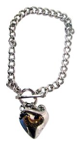 Juicy Couture Silver Small Chain Link Heart Charm Bracelet