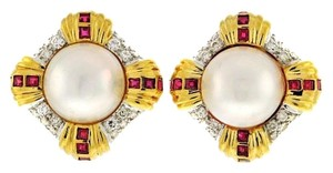Other STUNNING 18k Mabe pearl, diamonds & ruby clip earrings