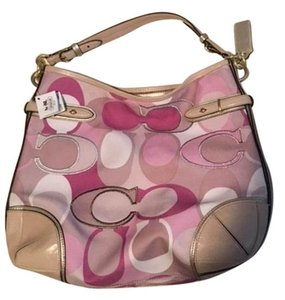 Coach Canvas Pink Hobo Bag
