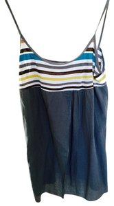 Velvet by Graham & Spencer Top grey, Yellow, White And Blue Stripes