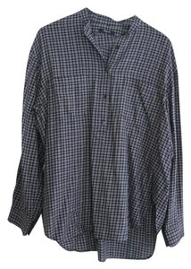 Madewell Popover Shirt Plaid Tunic Button Down Shirt Cadet